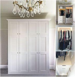 Custom made shaker style wardrobe with LED lighting inside