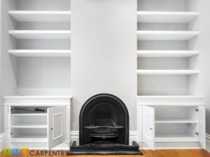 Alcove fitted TV cabinets with bookshelves