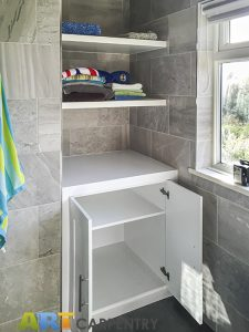 Bathroom bookcase with floating shelves. Made from humidity-resistant MDF