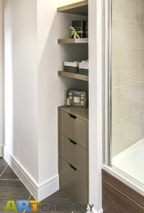 Bathroom bookcase with floating shelves. Made from humidity resistant MDF