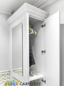 Bathroom wardrobes with mirrored false doors. Made from special moisture resistant MDF