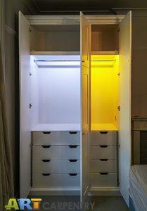 Shaker style doors Wardrobe with LED lighting