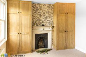 Oak veneered MDF fitted wardrobes
